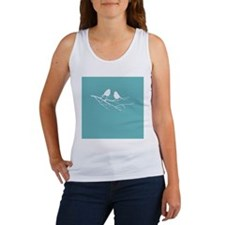 Two Little white Sparrow Birds Blue Shade Tank Top