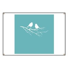 Two Little white Sparrow Birds Blue Shade Banner