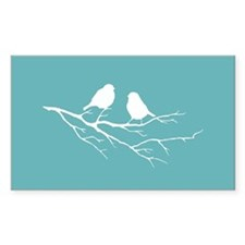 Two Little white Sparrow Birds Blue Shade Decal