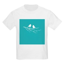Two Little white Sparrow Birds Blue Shade T-Shirt