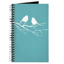 Two Little white Sparrow Birds Blue Shade Journal