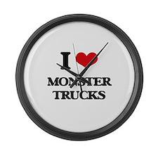 monster trucks Large Wall Clock