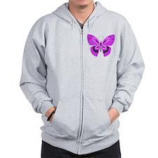 Art Nouveau Deco Butterfly Zip Hoodie