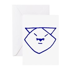 Blue Anime Cat Greeting Cards (Pk of 10)