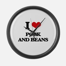 pork and beans Large Wall Clock