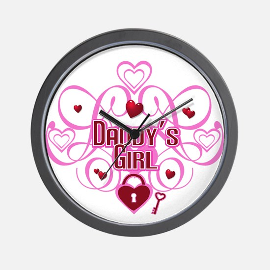 Daddy's Girl Pink/Red Wall Clock