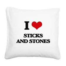 sticks and stones Square Canvas Pillow