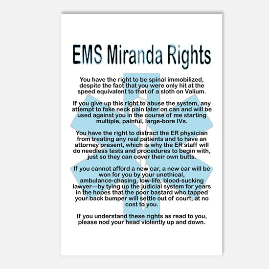 EMS Miranda Rights Postcards (Package of 8)