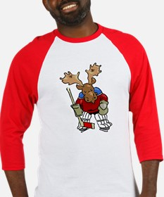 Moose Playing Hockey Baseball Jersey