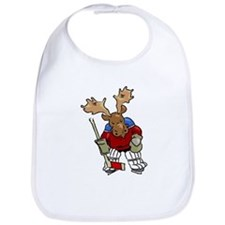Moose Playing Hockey Bib