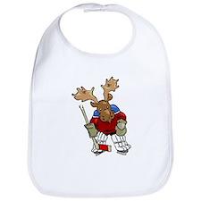 Moose Playing Hockey Bib