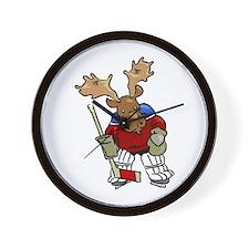 Moose Playing Hockey Wall Clock