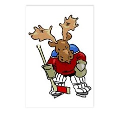 Moose Playing Hockey Postcards (8)
