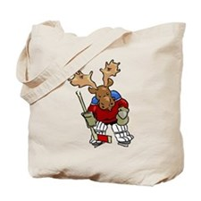 Moose Playing Hockey Tote Bag