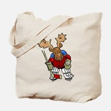 Moose Playing Hockey Tote Bag
