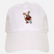 Moose Playing Hockey Baseball Baseball Cap