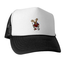 Moose Playing Hockey Trucker Hat