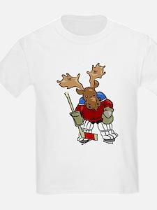 Moose Playing Hockey Kids T-Shirt