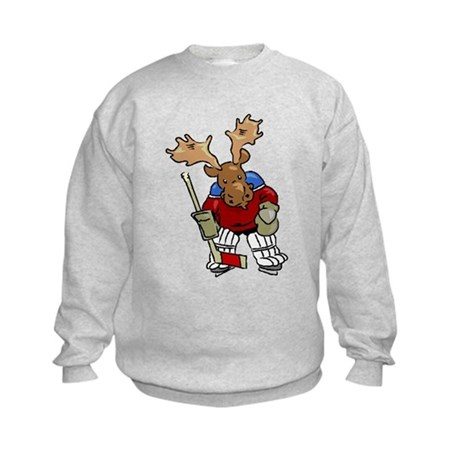 Moose Playing Hockey Kids Sweatshirt