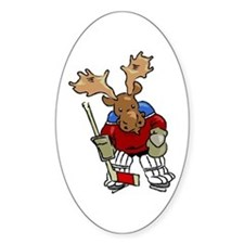 Moose Playing Hockey Oval Decal