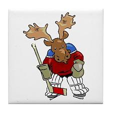 Moose Playing Hockey Tile Coaster