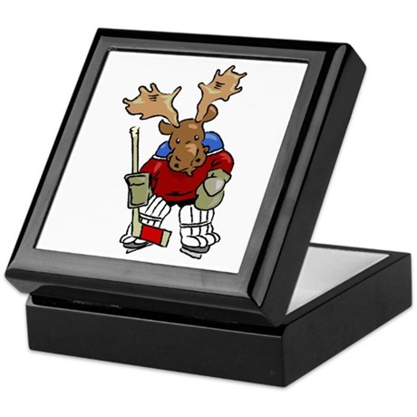 Moose Playing Hockey Trinket Box