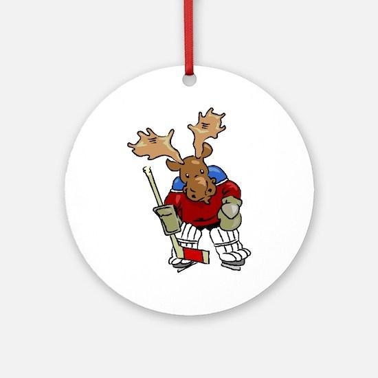 Moose Playing Hockey Ornament (Round)