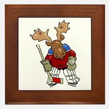Moose Playing Hockey Framed Tile