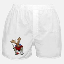 Moose Playing Hockey Boxer Shorts