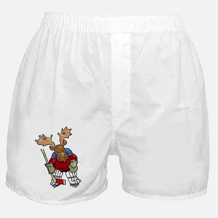 Moose Playing Hockey Boxer Shorts