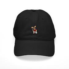 Moose Playing Hockey Baseball Hat