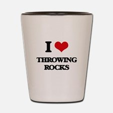 throwing rocks Shot Glass
