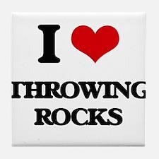 throwing rocks Tile Coaster