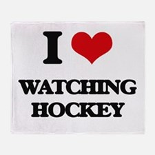 watching hockey Throw Blanket
