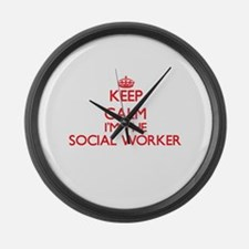 Keep calm I'm the Social Worker Large Wall Clock