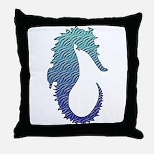 Wave Seahorse Throw Pillow