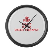 Keep calm I'm the Speech Therapis Large Wall Clock