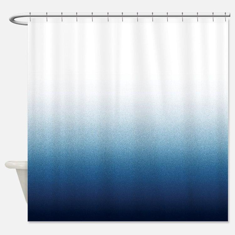 Indigo blue Ombre Shower Curtain
