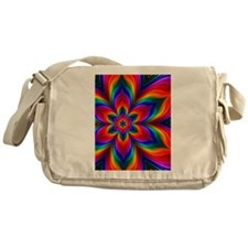 Rainbow Flower Fractal Messenger Bag