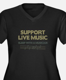 Support Live Music Women's Plus Size V-Neck Dark T
