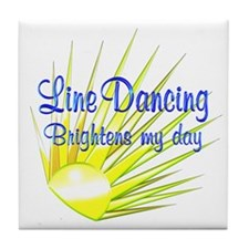 Line Dancing Brightens Tile Coaster