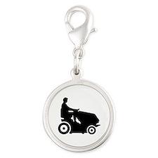 Lawn mower driver Silver Round Charm