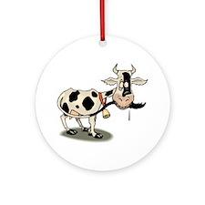 Funny Cartoon Cow Ornament (Round)