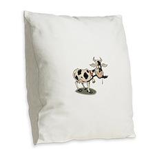 Funny Cartoon Cow Burlap Throw Pillow