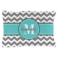 Gray and Turquoise Chevron Custom Mono Pillow Case