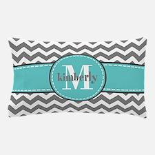 Gray and Turquoise Chevron Custom Mono Pillow Case