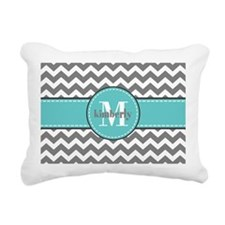 Gray and Turquoise Chevr Rectangular Canvas Pillow