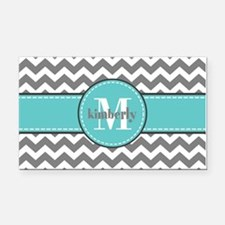 Gray and Turquoise Chevron Cu Rectangle Car Magnet