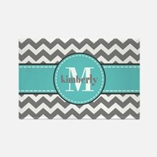 Gray and Turquoise Chev Rectangle Magnet (10 pack)