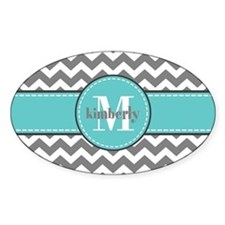 Gray and Turquoise Chevron Custom M Decal